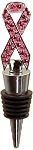 All For Giving Ribbon Wine Bottle Stopper, Support The Breast Cancer Cause