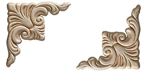 Ornamental Mouldings Birch Acanthus Corner Onlay Set of 2