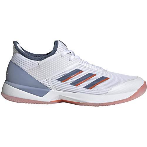 adidas Women's Adizero Ubersonic 3 Tennis Shoe White/tech Ink/True Orange 9.5 M US