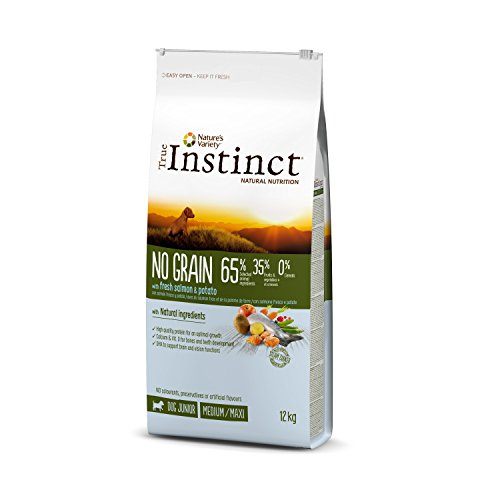 🥇 True Instinct No Grain Medium-Maxi Pienso para Perro Junior con Salmón – 12 kg