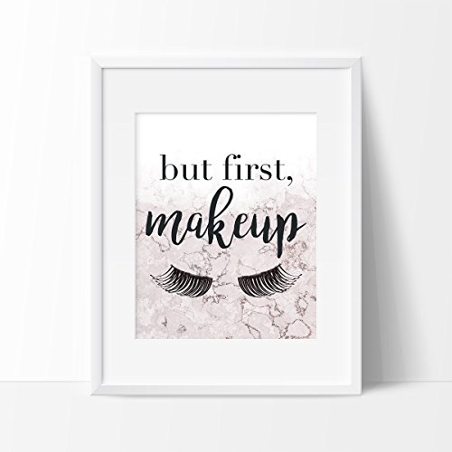 But First, Makeup Pink Marble Art Print - Makeup Wall Art -