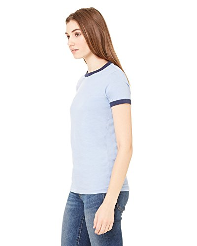 Ladies Heathered Ringer Tee - Bella Canvas Women's Heathered Ringer Jersey T-Shirt, HTHR Blue/Navy, Small