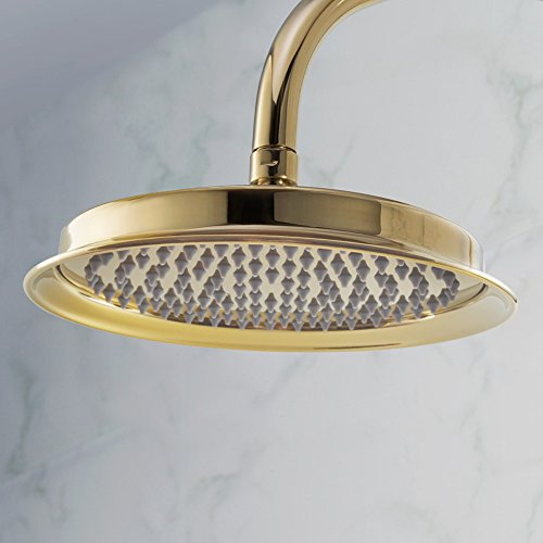KES METAL 9-Inch Extra Big Rainfall Shower Head Replacement Part for Bathroom Shower System Overhead Showerhead Traditional Style Titanium Gold, (Traditional Rain Head)