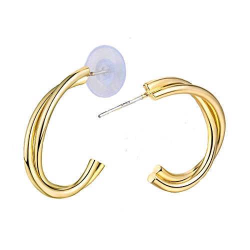 High Polished Double C Hoop Earrings,Hypoallergenic 18k Gold Plated Twisted Hooped Earrings