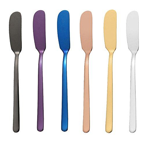 Ice Age Stainless Steel Tableware 6 Packs (Mixing colors, 6.5 In. Butter knife)
