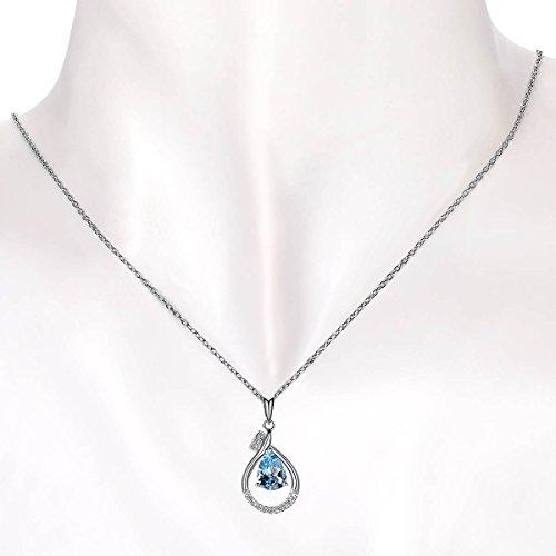 Hutang massif Or blanc 18ct Naturel Pierre précieuse aigue-marine et diamants Clou Pendentif et collier pour femme fine Diamond-jewelry