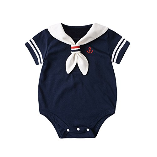 Taiycyxgan Newborn Unisex Baby Rompers Girls Boys Nautical Sailor Jumpsuit Bodysuit Outfit Navy 60 (Sixties Outfit)