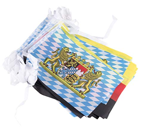 Juvale Bavaria and Germany Oktoberfest String Flags - 80-Feet Bavarian German Theme Party Pennant Banner Hanging Decoration, 50 of Each Flag, 100 8 x 5-Inch Flag Pieces