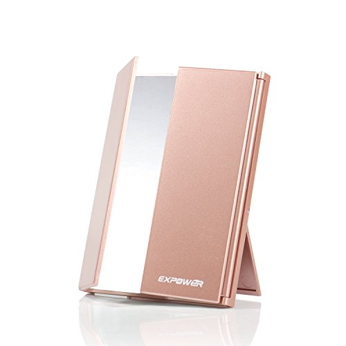 Expower Tri-Fold Lighted Travel Makeup Mirror, Compact Led Light Vanity Mirrors Folding Illuminating Travel Mirror with 8 Led Lights Rectangular Compact Mirror