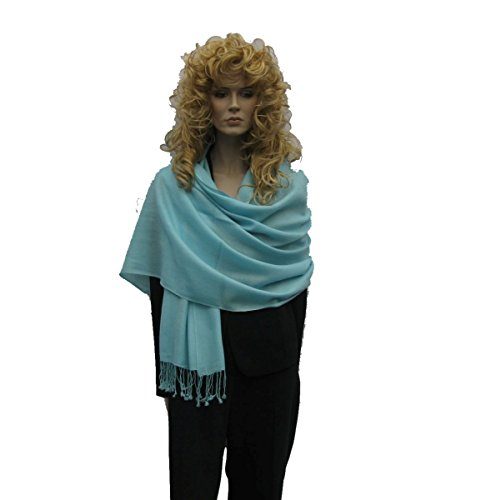 Scarf/Shawl/Wrap/Stole/Pashmina Shawl in solid color from Cashmere Pashmina Group (Regular Size) - Caribe Blue