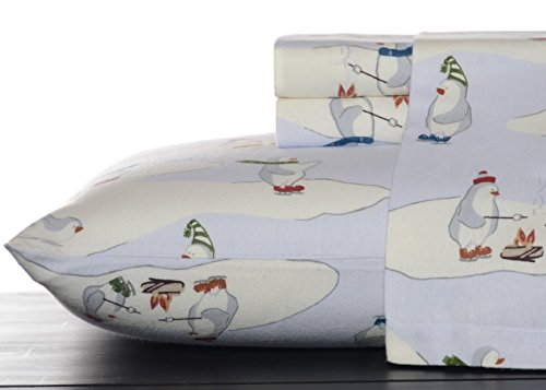 Eddie Bauer 196484 Skating Penguins Sheet Set, Blue Sky, Queen