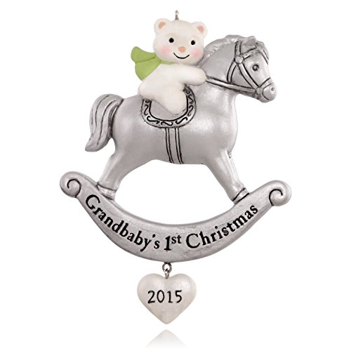 Grandbaby's First Christmas Sweet Little Bear and Rocking Horse Ornament 2015 Hallmark