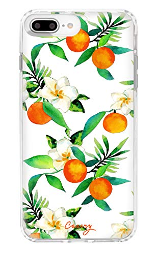 Casery iPhone 8 Plus, iPhone 7/6 Plus Case, Orange Blossom (Summer Citrus) - Military Grade Protection - Drop Tested - Protective Slim Clear Case for Apple iPhone 8 Plus, iPhone 7/6/6s Plus