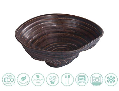 Globe Faith Eco-friendly Versatile Stoneware Noodle Bowl, Decorative Soup Bowl China Bowl, Use as Snack Bowl, Salad Bowl, Popcorn Bowl, Deep Dish, Unique Fingerprint Texture Art Ceramic, Brown 12oz