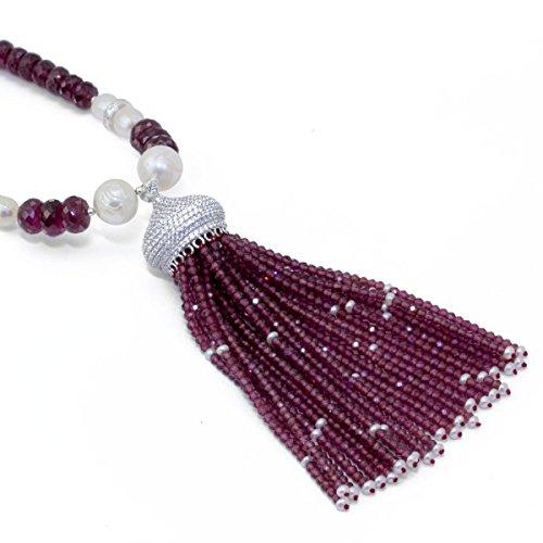 Rhodolite Garnet and Carved Pearl Tassle Necklace (Honora Strand Necklace)