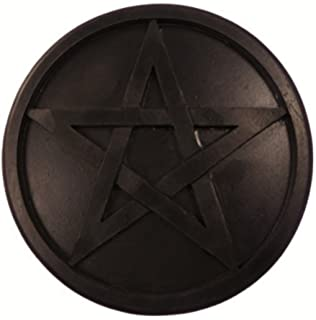 Madera negra Pentagrama altar azulejo 20cm ritual regalo decorativo wiccano pagano pentáculo