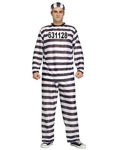 [Fun World Men's Adult Jailbird Costume, White/Black, One Size] (Police Costumes For Men)