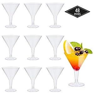 48 Premium Plastica Monouso Bicchieri da Martini, Trasparente 210ml - Durevole, USA e Getta o Riutilizzabile| Bicchieri da Cocktail per Feste, Compleanni, Natale. 2 spesavip