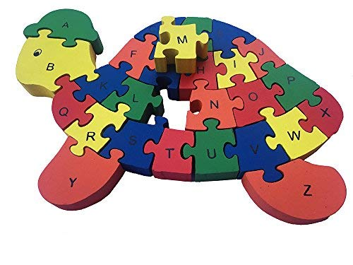 ABC Puzzle Game New Counting Tortoise Wooden Letters and Numbers Jigsaw Puzzles ,Family Game for Kids ,Interactive Educational Toys for Age 3 4 5 Years Old and Up Baby Preschool Toddler Boys Girls - Maple Educational Puzzle