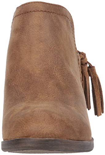 Out Cognac Boot Womens Bootie Fabric Decorative Tiaan Cut Side Rampage with Ankle Tassle qHwOt46