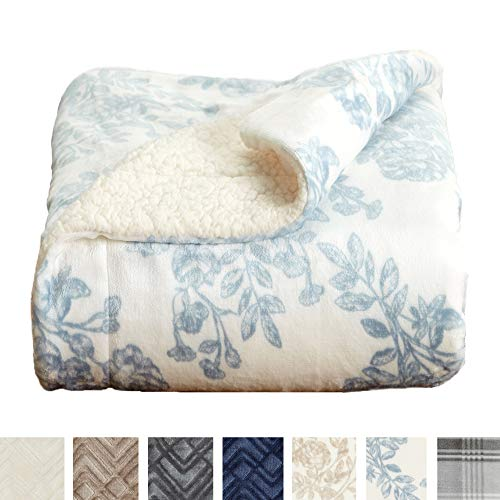 Home Fashion Designs Premium Reversible Sherpa and Sculpted Velvet Plush Luxury Blanket. Fuzzy, Soft, Warm Berber Fleece Bed Blanket Brand. (Full/Queen, Toile Blue)