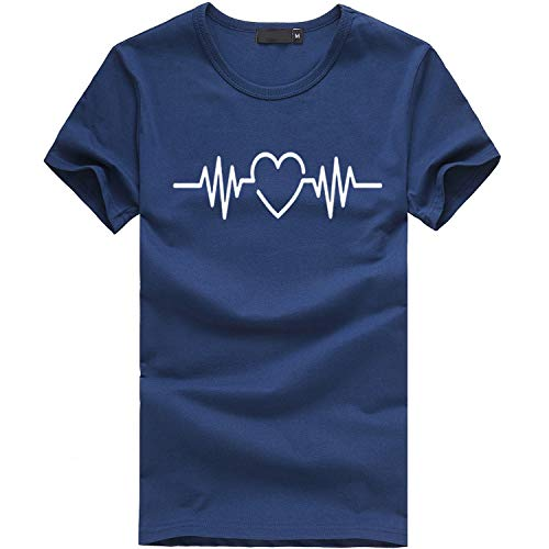 (Balakie Summer Tops for Women, Novelty Heart Electrocardiogram Print T-Shirt Stylish O-Neck Blouse(Navy,Tag Size S= US 4))
