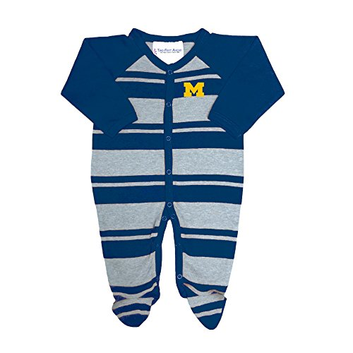 Two Feet Ahead Michigan Wolverines NCAA Newborn Baby Long Sleeve Rugby Footed Romper