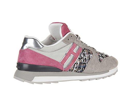 Hogan Rebel scarpe sneakers donna camoscio nuove r261 allacciato grigio