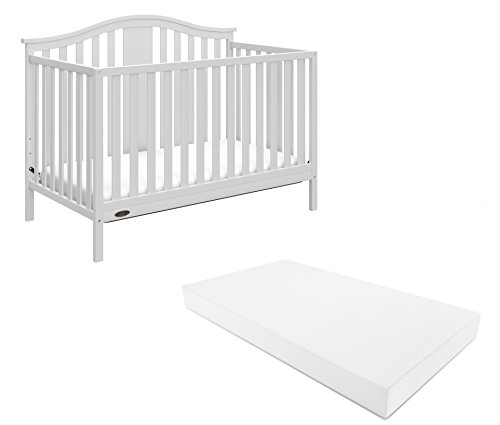Graco Solano 4-in-1 Convertible Crib With Mattress, White, Converts to Toddler Bed Day Bed or Full Bed, Three Position Adjustable Height Mattress (Premium Mattress Included)