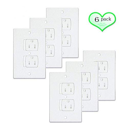 Electrical Outlet Covers Universal Self-Closing Outlet Plugs,Child Safety Guards Socket Plugs Protector,BPA Free,6 Pack, Hardware Included ()