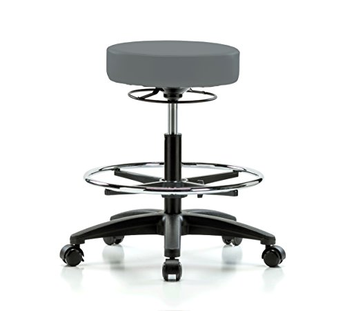 Perch Life Rolling Height Adjustable Stool With Footring For Lab Medical Office Spa Salon Kitchen Garage 20.5'' - 28'' (Stationary Caps/Cinder Fabric) by Perch