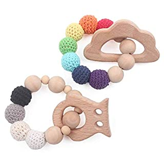 Baby Wooden Teether Infant Teething Toys Set of 2 Bracelet BPA Free Can Chew Cloud and Owl Textures Sensory Charm,Rainbow