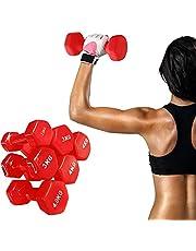 Dumbbells with 1pcs Headband Women Barbell Men Hand Weight Rubber Dumbbell Set Pink Red Orange Children Home Gym Burn Calorie Equipment Body Building