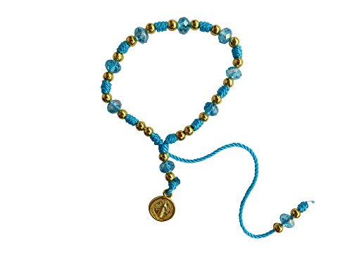 Sky Blue Thread with Cristal Beads Saint Benedict Bracelet Pulsera De San Benito