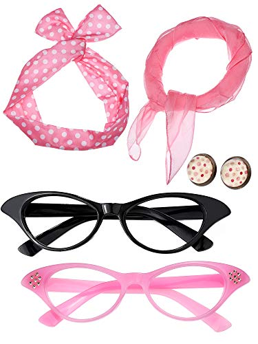 Satinior Women 50's Costume Accessories Set Girl Scarf Headband Earrings Cat Eye Glasses for Party (Color Set 3) -