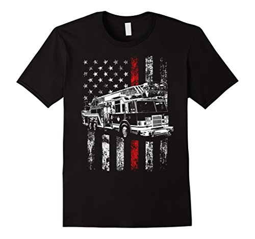 Mens Fireman American Flag Shirt Thin Red Line Firefighter Shirt Large Black (Firefighter Large Flag)