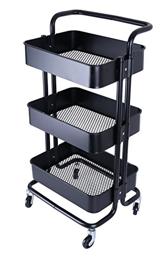 3-Tier Metal Mesh Utility Rolling Cart with Removable Handle and Plug, Indoor or Outdoor Storage Organizer, Black (Outdoor Cart Bbq)