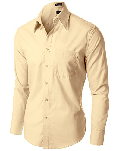 Stylish Comfortable Solid Color Long Sleeve Dress Shirts Ivory 1XL