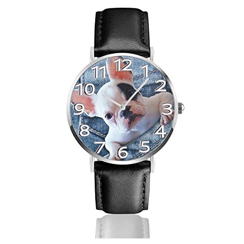 French Bulldog In Jeans Pocket Unisex Watch Fashion Sport Watch PU Leather Band Quartz Stainless Steel Wrist Watches Slim Classic Waterproof Business Watch ()