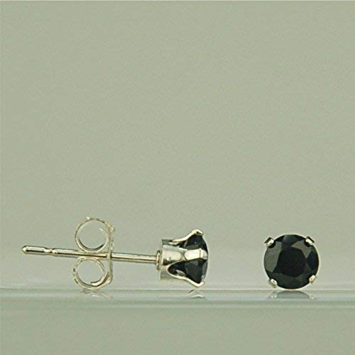 (Black Spinel 4mm Natural Untreated Gemstone Stud Earrings Sterling Silver)