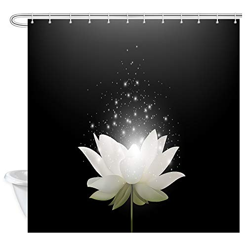 Curtain Shower Valance (KOTOM Floral Bath Curtains Bathroom, Magic White Lotus Flower on Black Background, Fabric Shower Curtain Liner Waterproof, Drapes Accessories Hooks Included, 69X70 in)