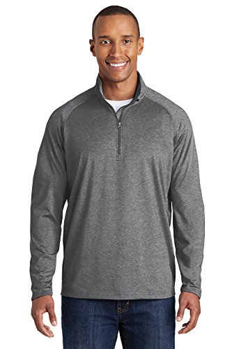 Sport-Tek Men's Sport Wick Stretch 1/2 Zip Pullover-Charcoal Grey Heather-Large