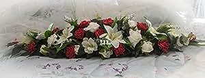 Boda flores mesa centro de mesa en color rojo brillante y marfil rosas