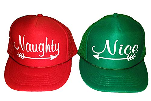 ThatsRad Pair of Naughty and Nice Christmas Mesh Trucker Hat Cap Snapback Ugly Sweater Party -