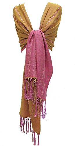 Silk Wool & Cashmere Stole Scarf Wrap Shawl with Hand Knotted Fringe Pink Camel