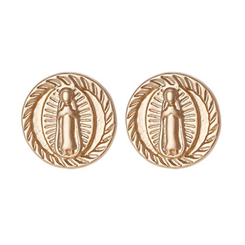 (Hukai Matte Golden Coin Lady Of Guadalupe Virgin Mary Stud Earrings Fashion Jewelry)