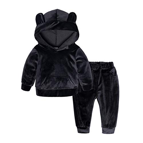 - Morecome Toddler Kid Baby Girls Boys Long Sleeve Solid Hoodie Tops+Pants Outfits Cute Bear Set Clothes