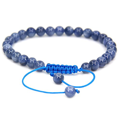 Natural AA Grade Kyanite Gemstone 6mm Round Beads Adjustable Bracelet 7