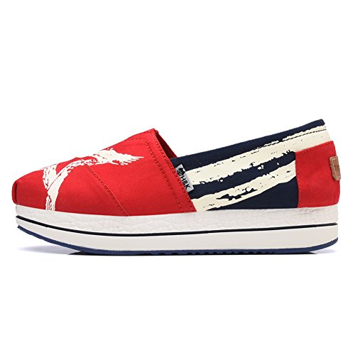Red Slip On Platform Women's TIOSEBON Stars with Shoes Sneaker Elastic Fashion vTfnqw