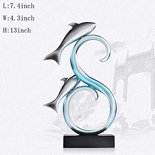 LDKFJH Statue Abstract Sculptures Resin Crafts Group Fish Decoration Home Figurine Resin Ornaments Desktop Jewelry Decoration Wall Decor (Color : B) (Sculpture Fish Abstract)